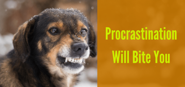 rocrastination will bite you eventually. Deal with the barking dog today.Avoidance does not cause a problem to become smaller, it only makes it larger.